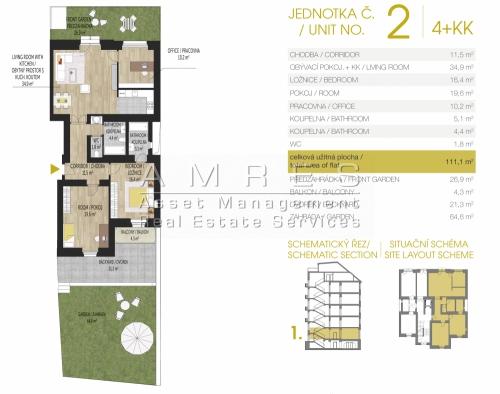 Fully renovated flat 4+kk, 111 m2, with a private garden, Prague 7- Šmeralova